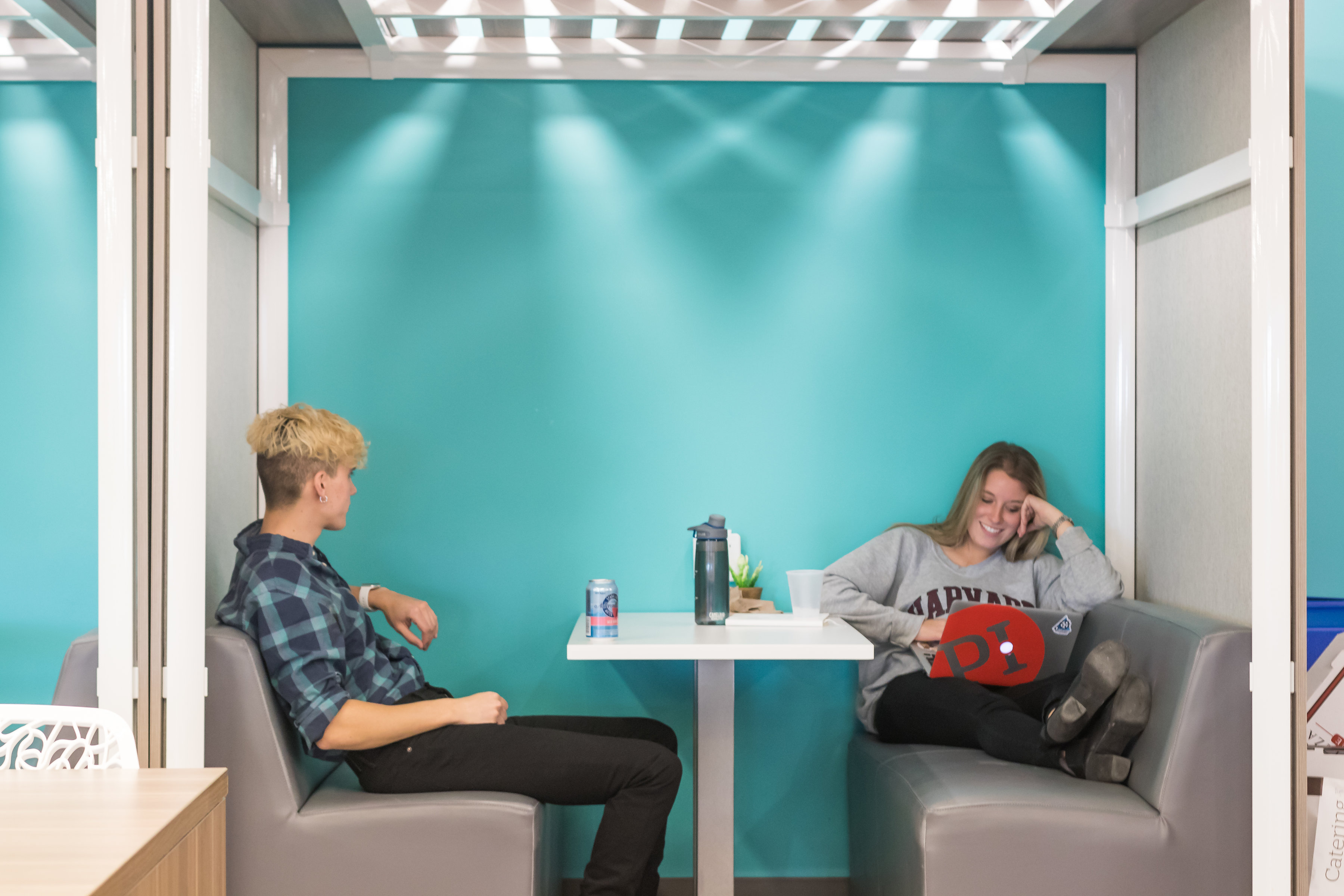 Managing millennials in the workplace means providing many casual seating options