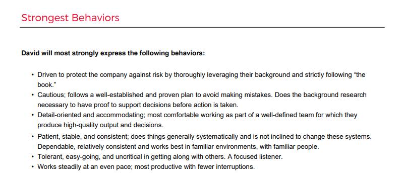 """PI Behavioral Assessment report """"strongest behaviors"""" sample section"""