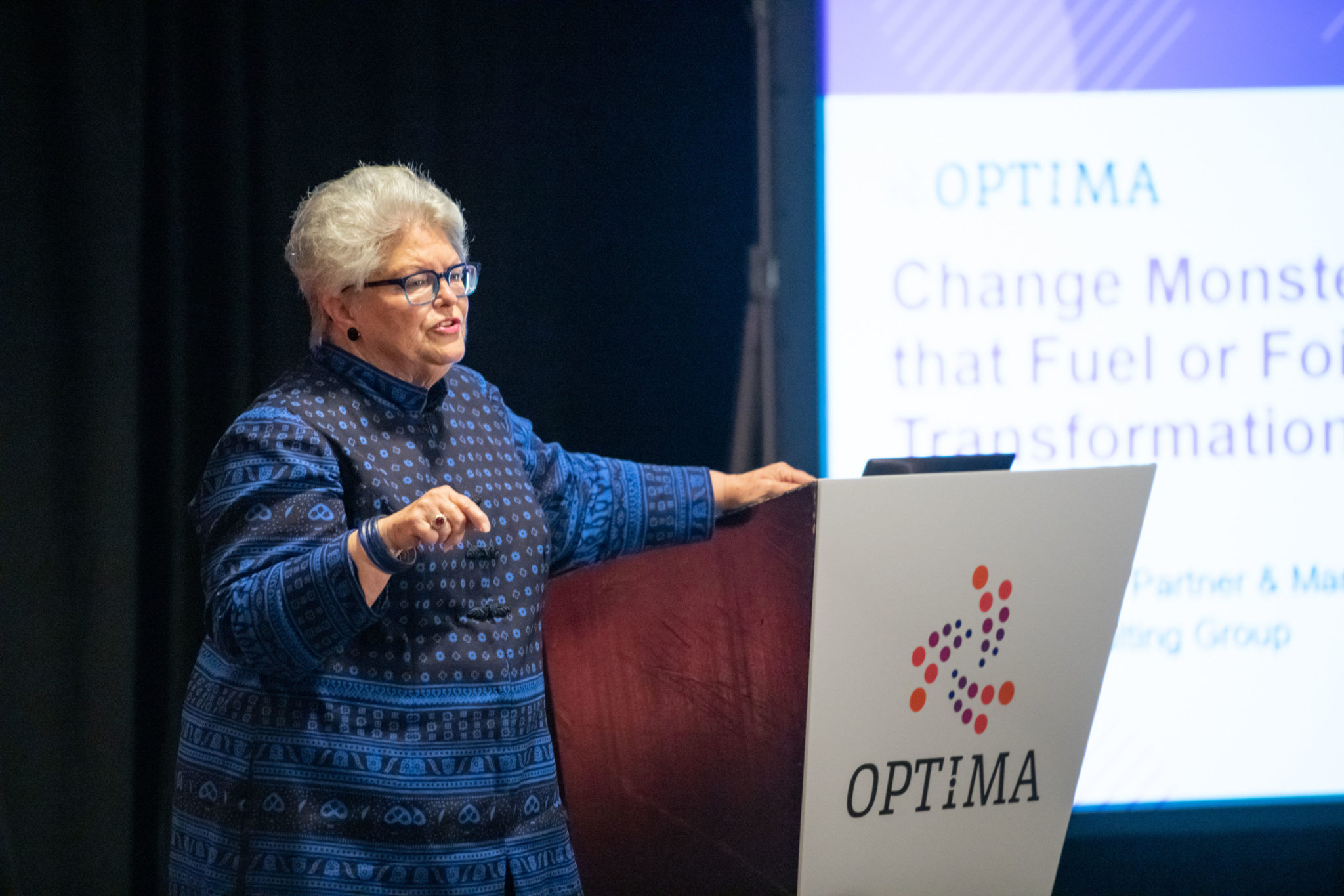 Jeanie Duck talking about change initiatives at OPTIMA 2019