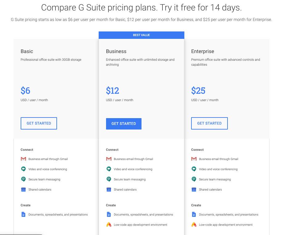 G Suite pricing plans
