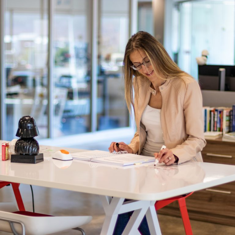 Woman doing work in office