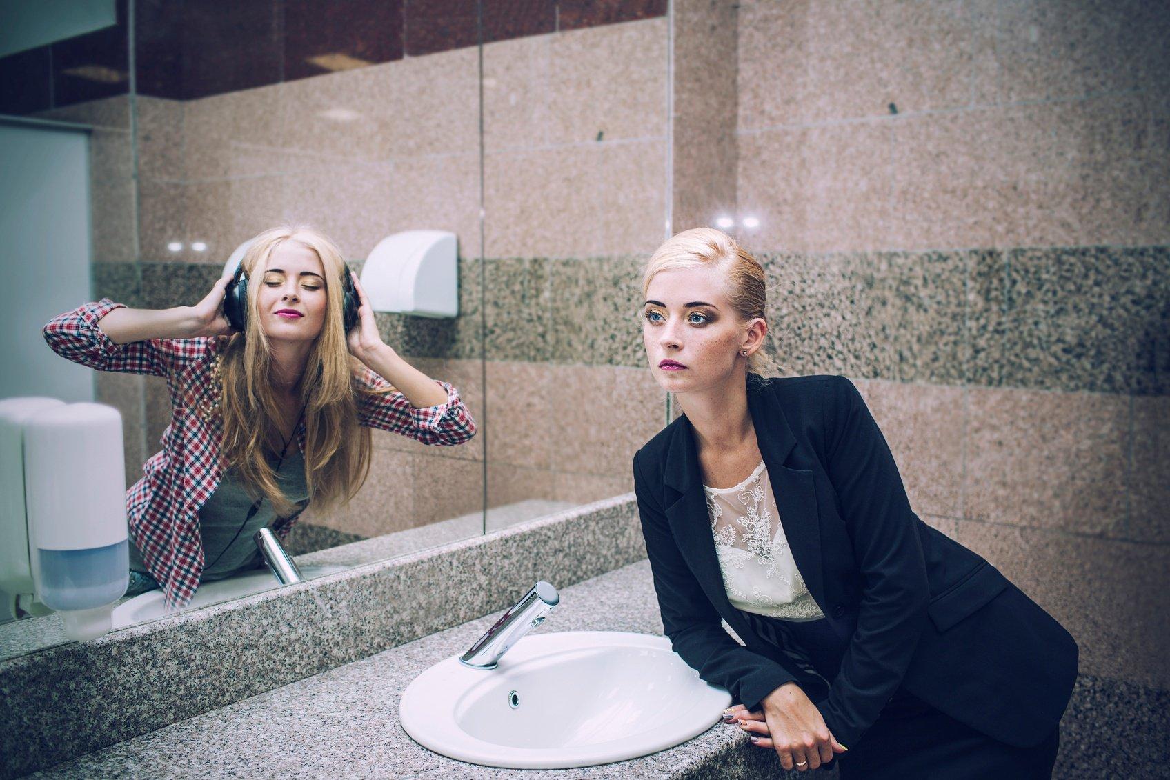 Woman in bathroom