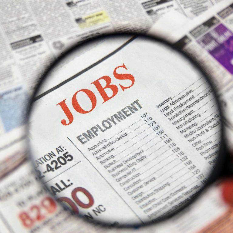 Job listings in newspaper