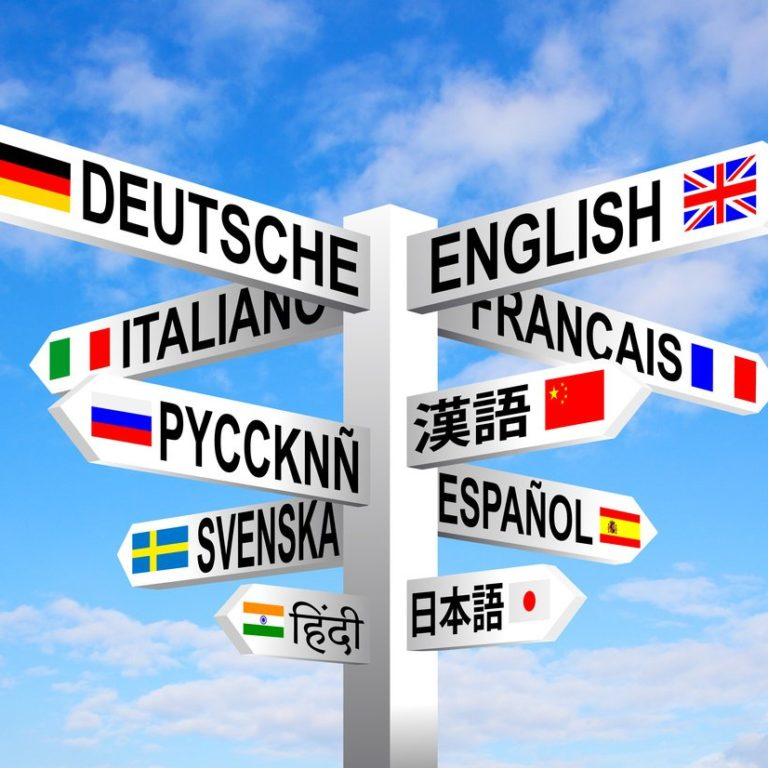 Sign with different languages