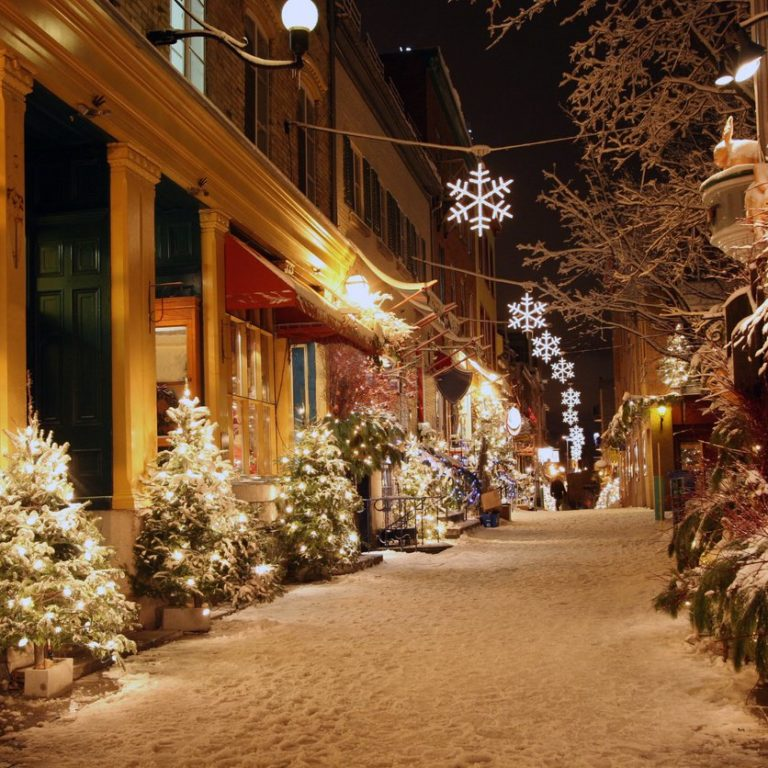 Holiday decorations on snowy street