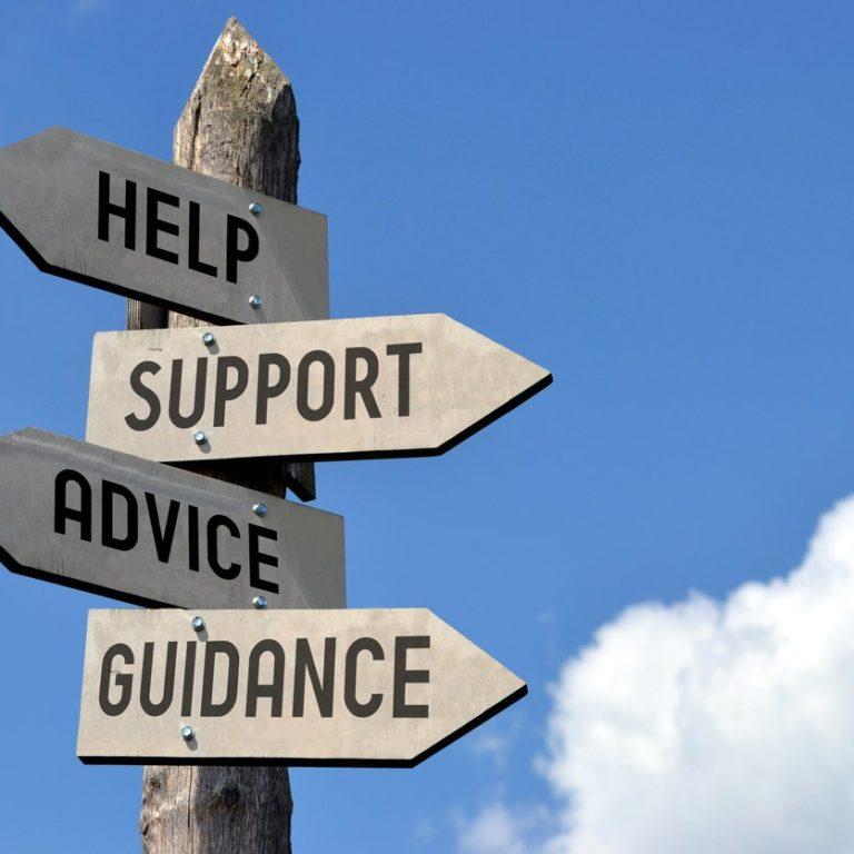 Help, support, advice, guidance arrows