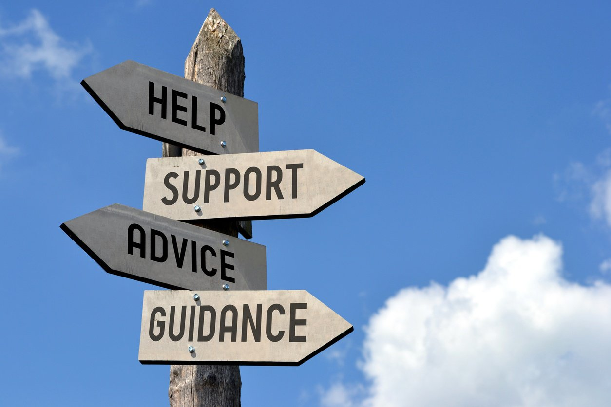 Help, support, advice, guidance arrows