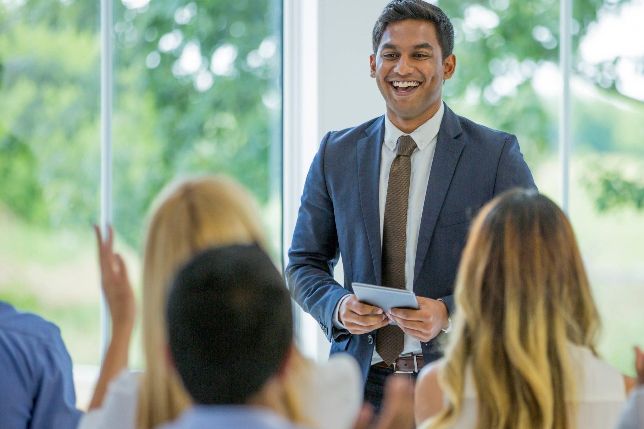 Man hosting presentation