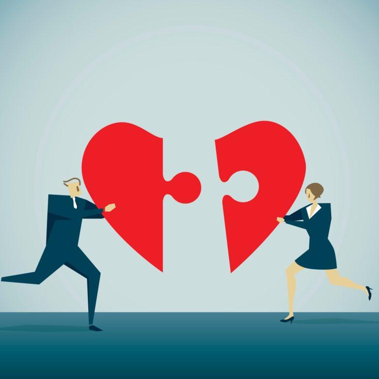 Broken heart puzzle piece