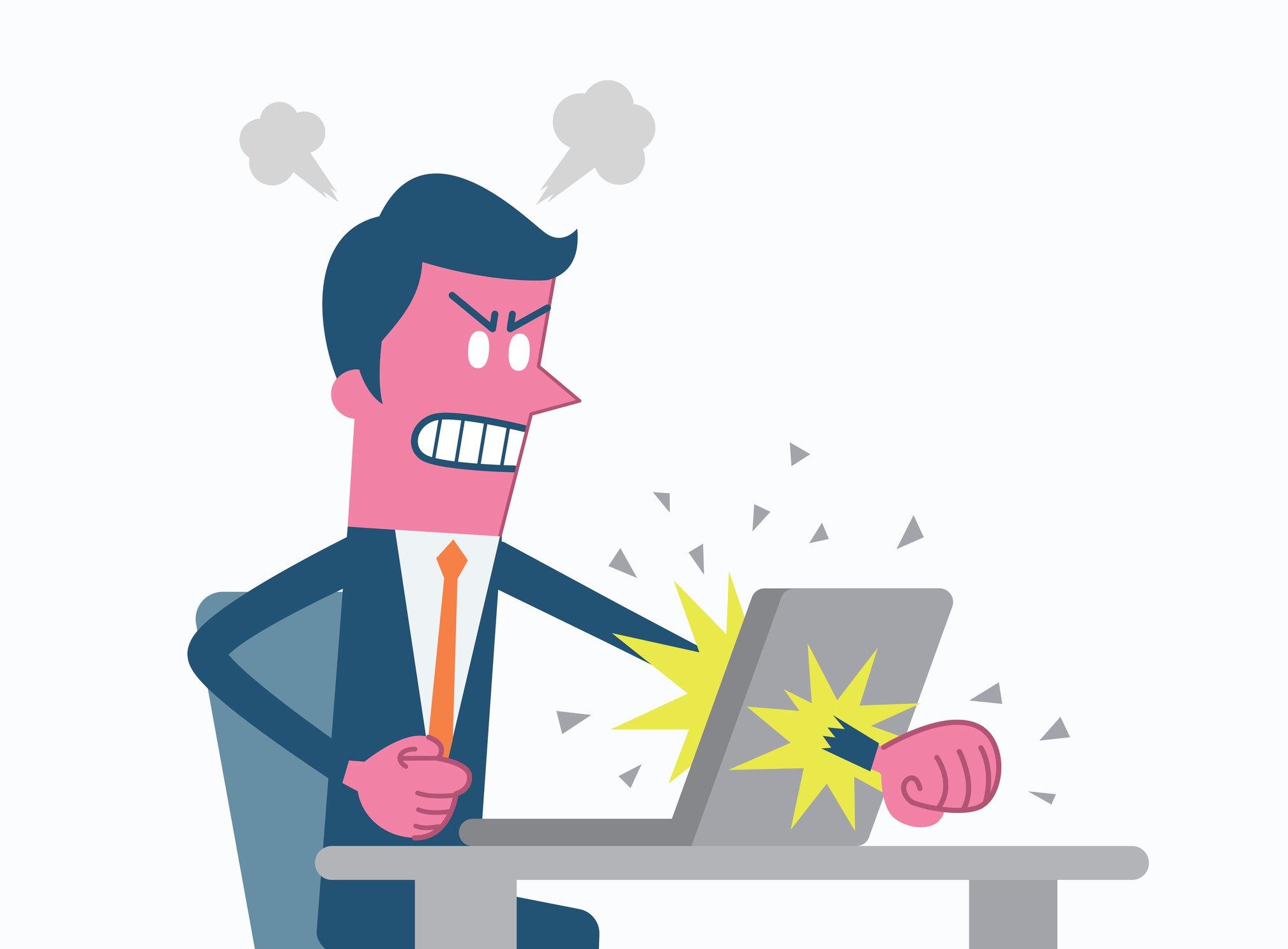 Man angry at work