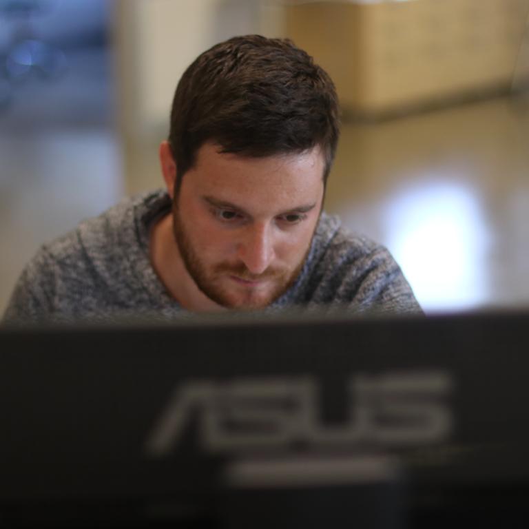 Man on computer working