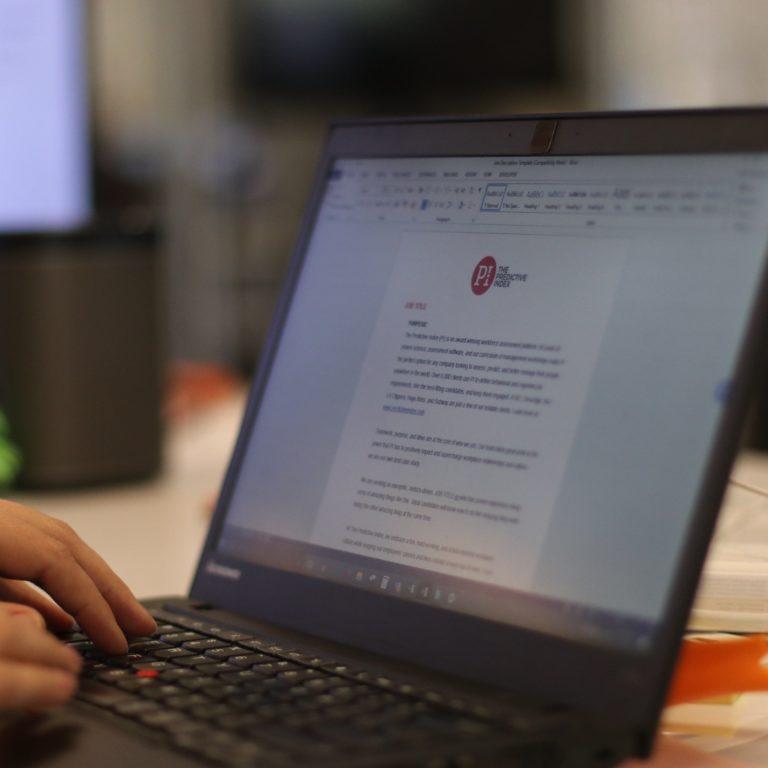 PI page on laptop