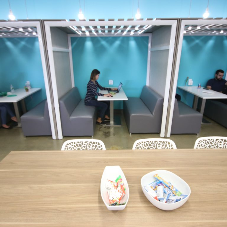 kitchen booths with people in them