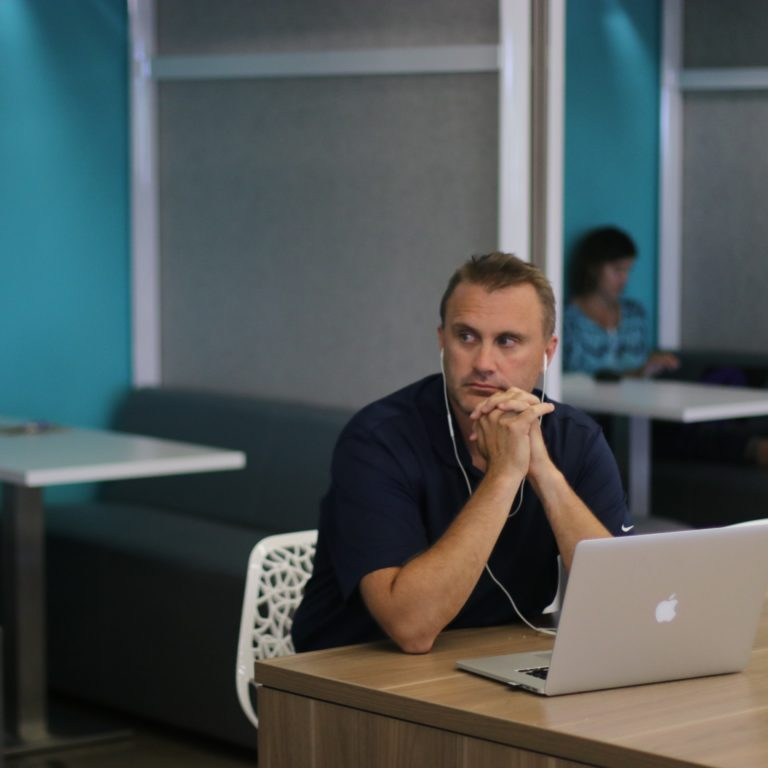 Man thinking in office