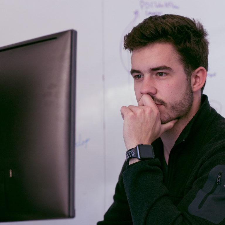 David looking at computer