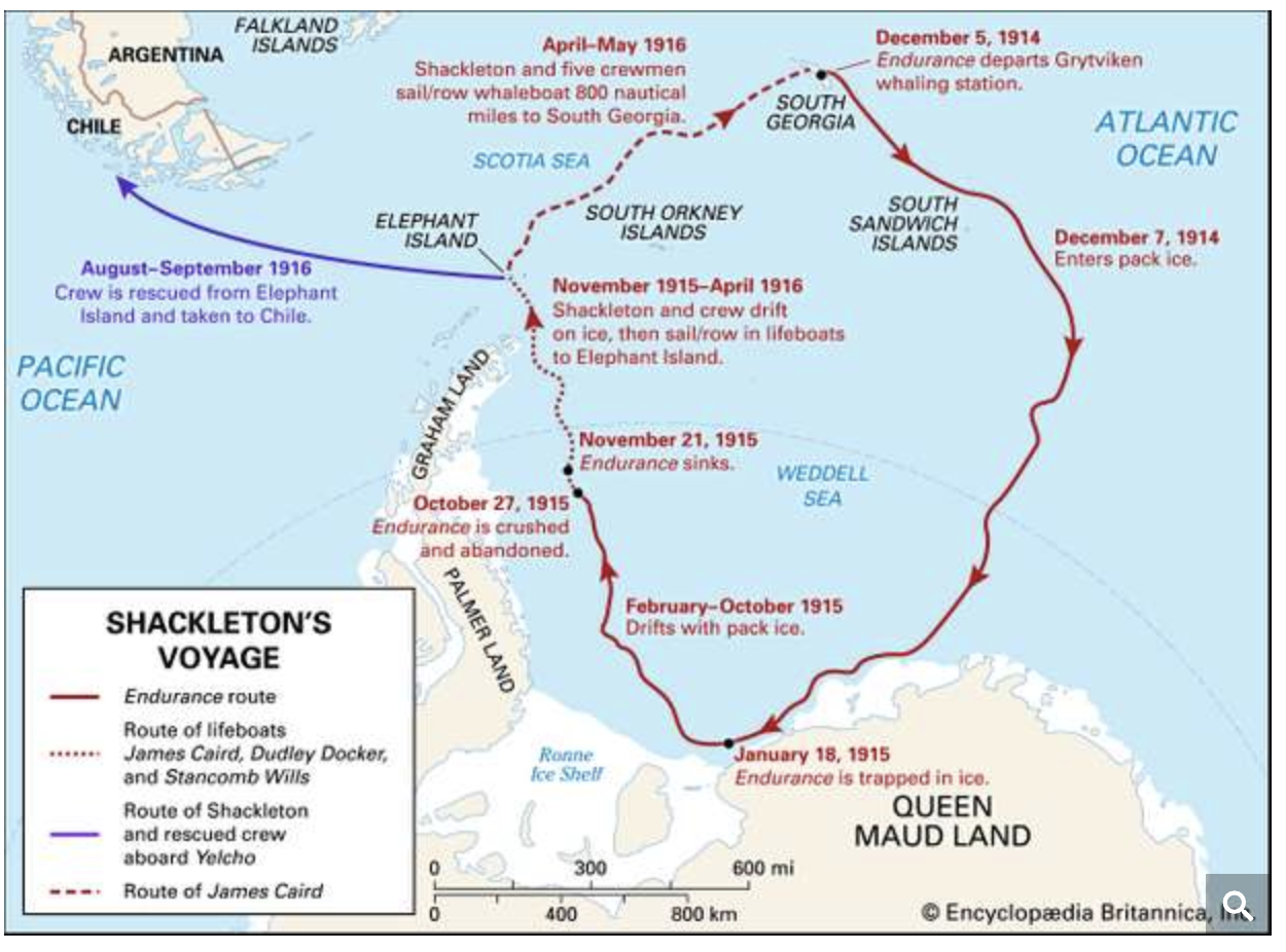 Map of Ernest Shackleton's expedition from Brittanica.com