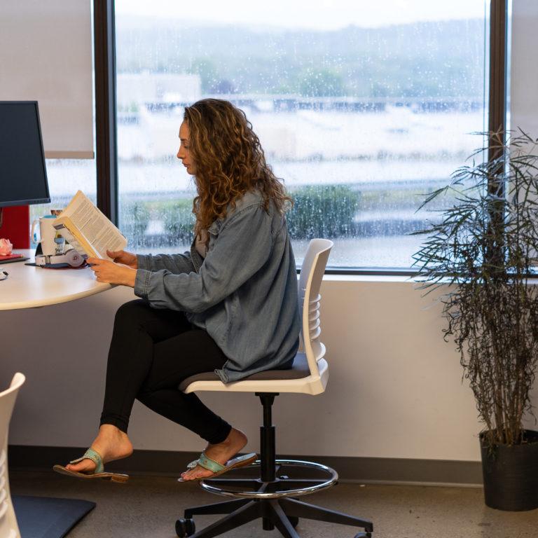 employee reading book