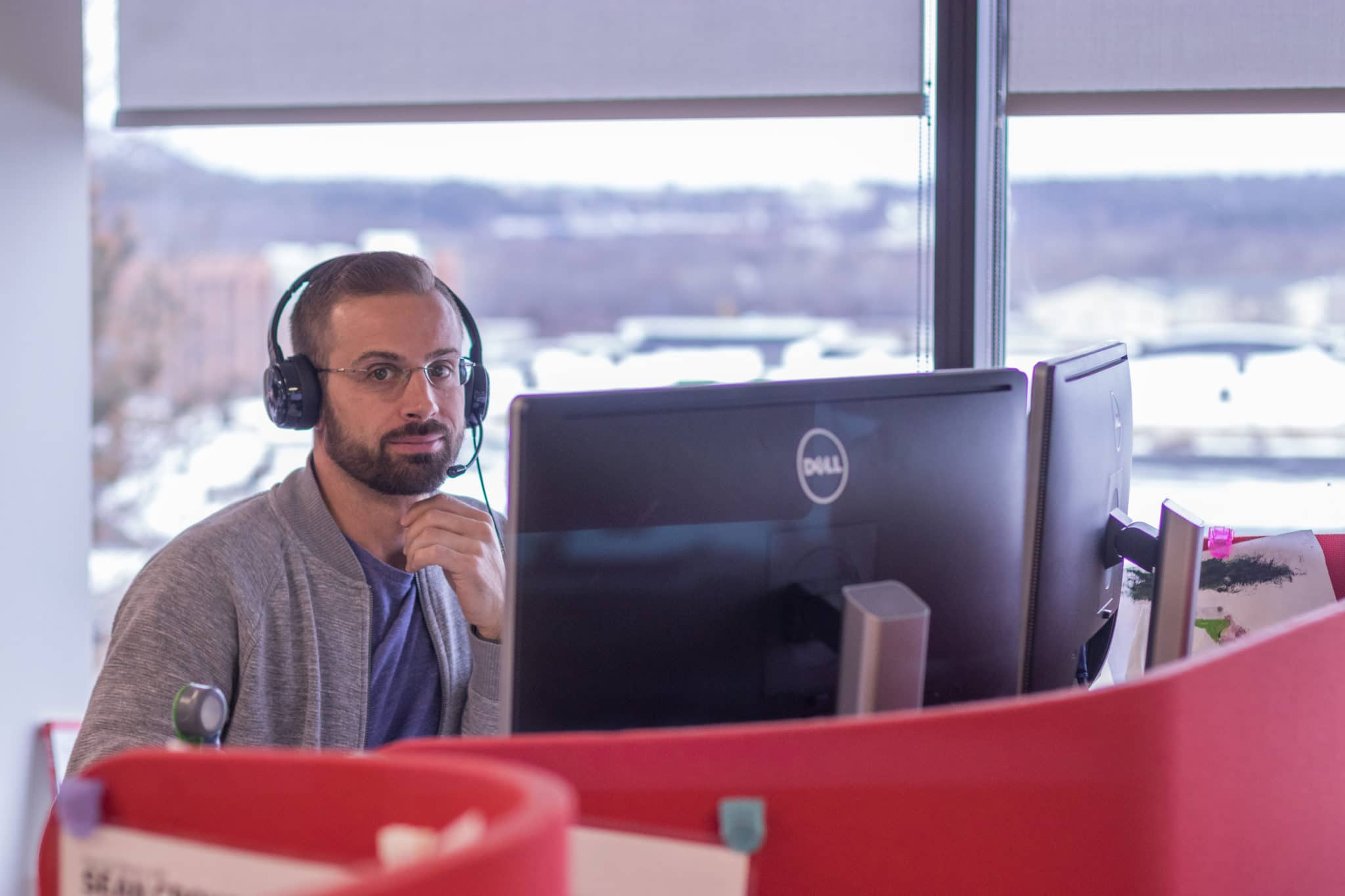 sales person sitting at desk