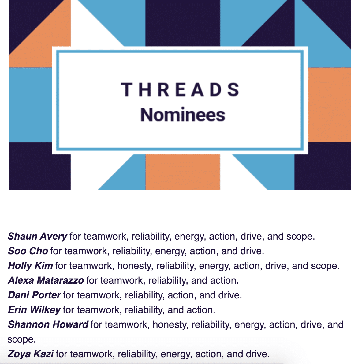 THREADS nomination