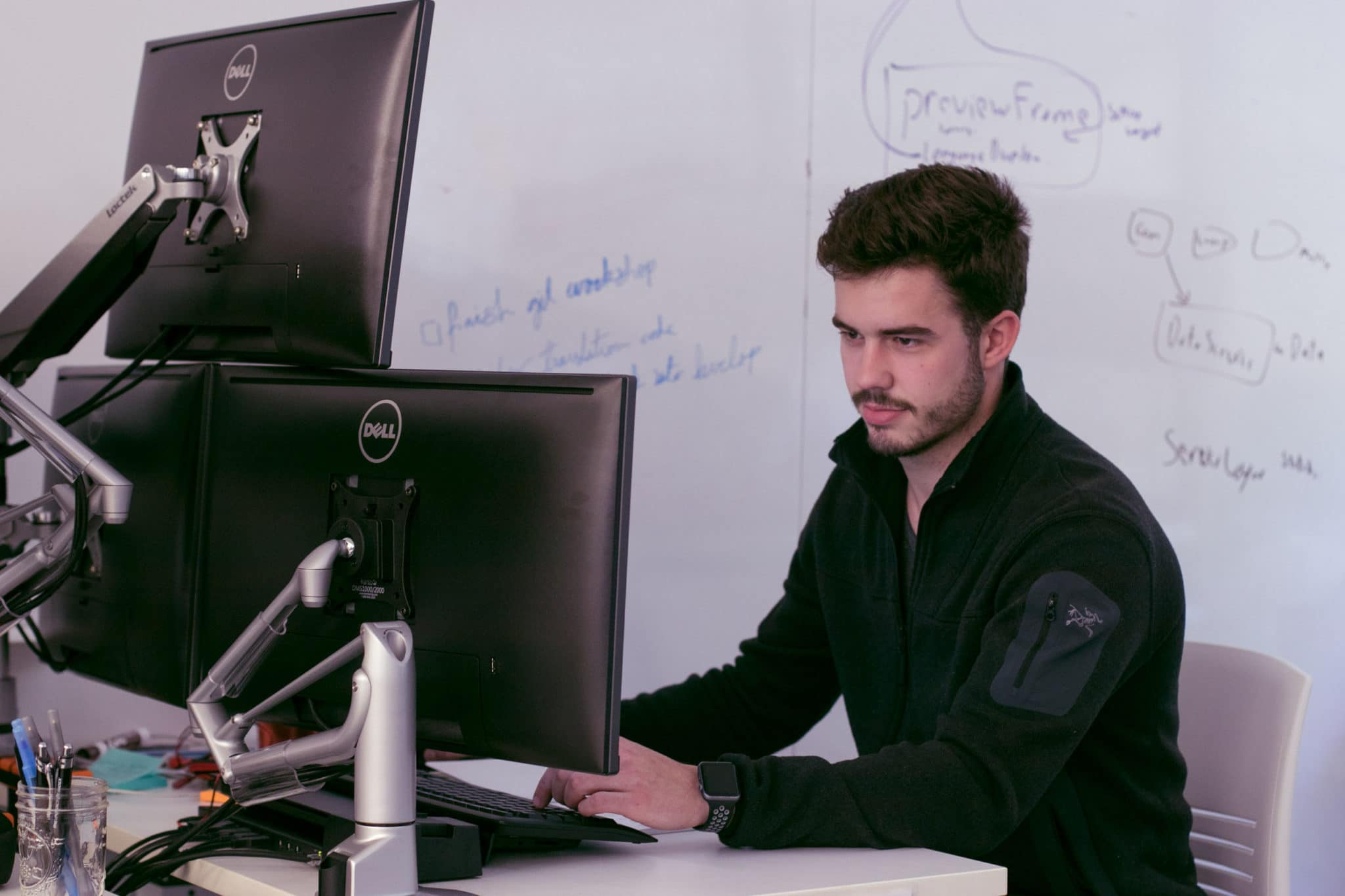 employee typing on computer