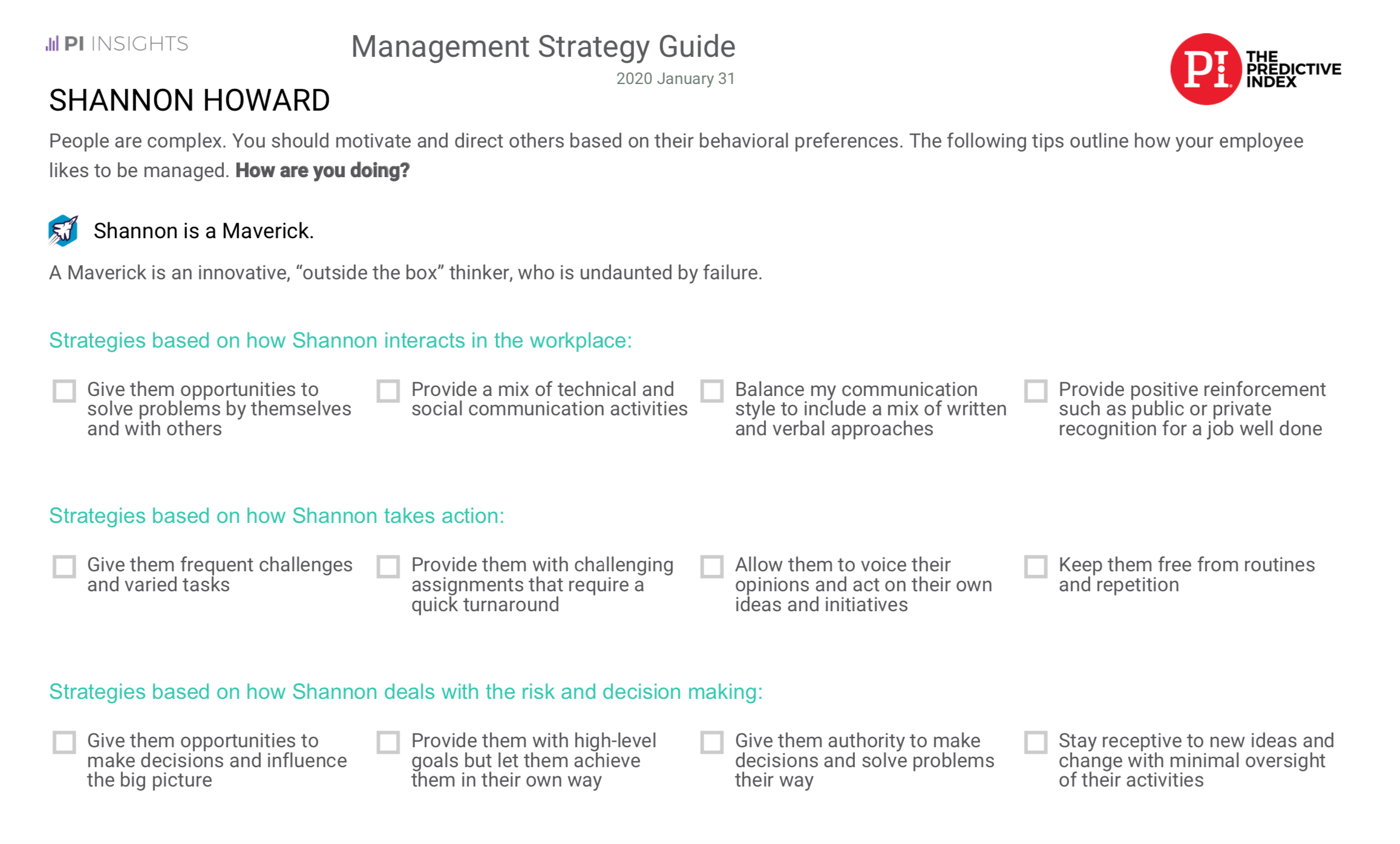 Management Strategy Guide example