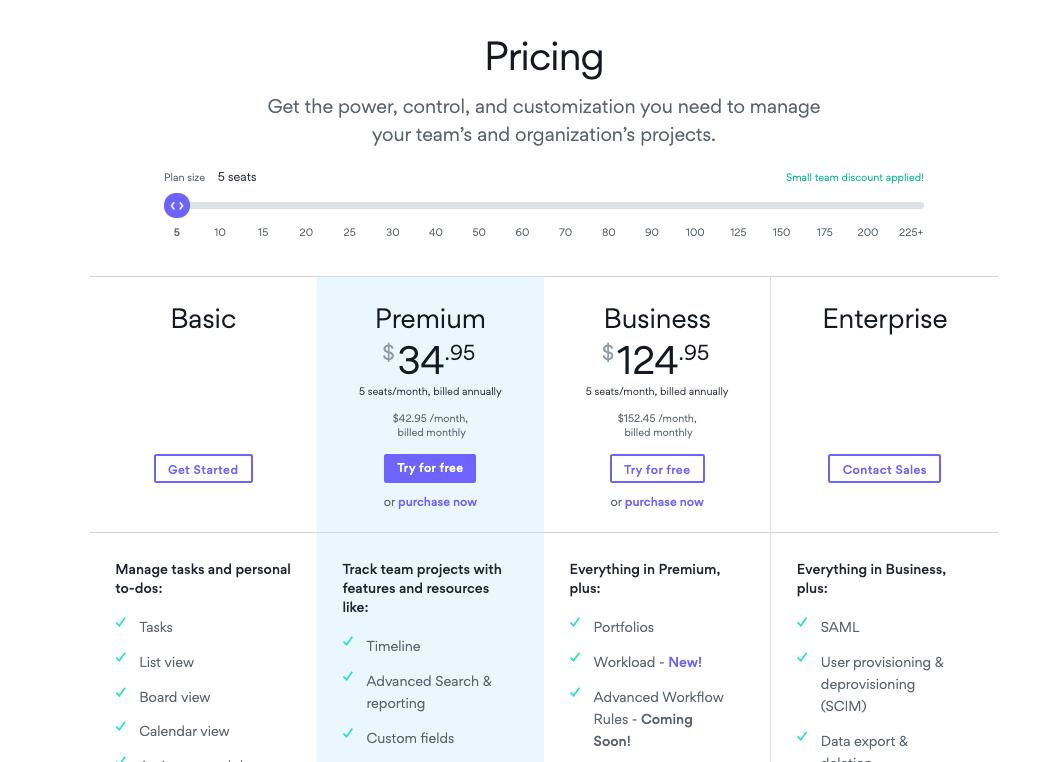Asana pricing plans