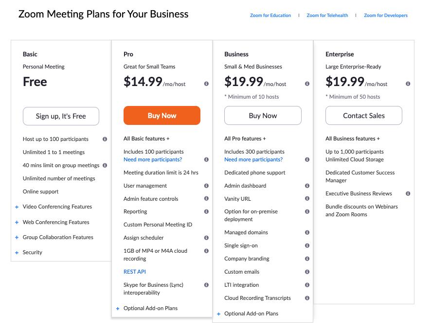 Zoom meeting plans