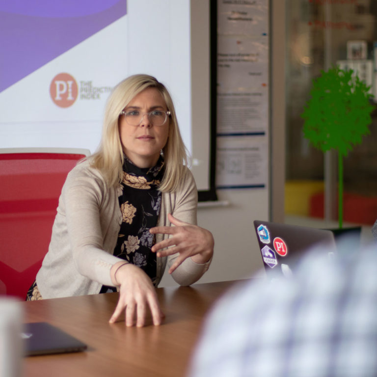 PI's Kim Pfluger walking through a new product launch
