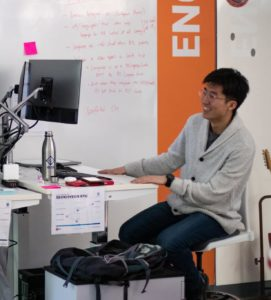 PI engineer working in the office