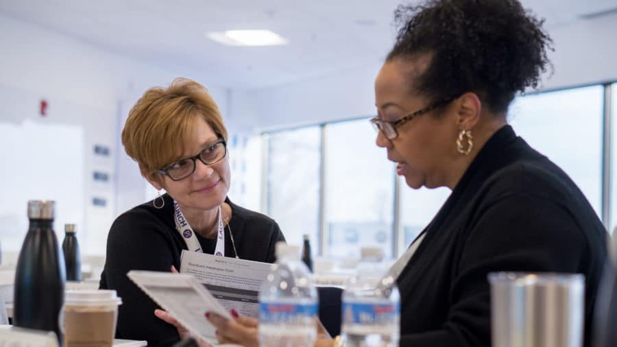 a consultant working with her client to determine KPIs