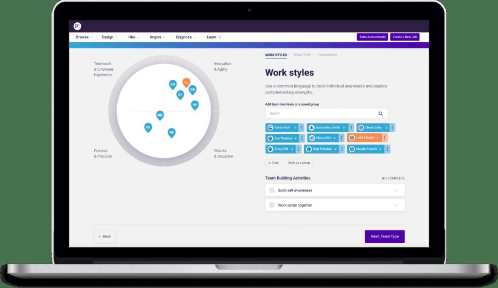 Laptop showing PI Design software for building teams