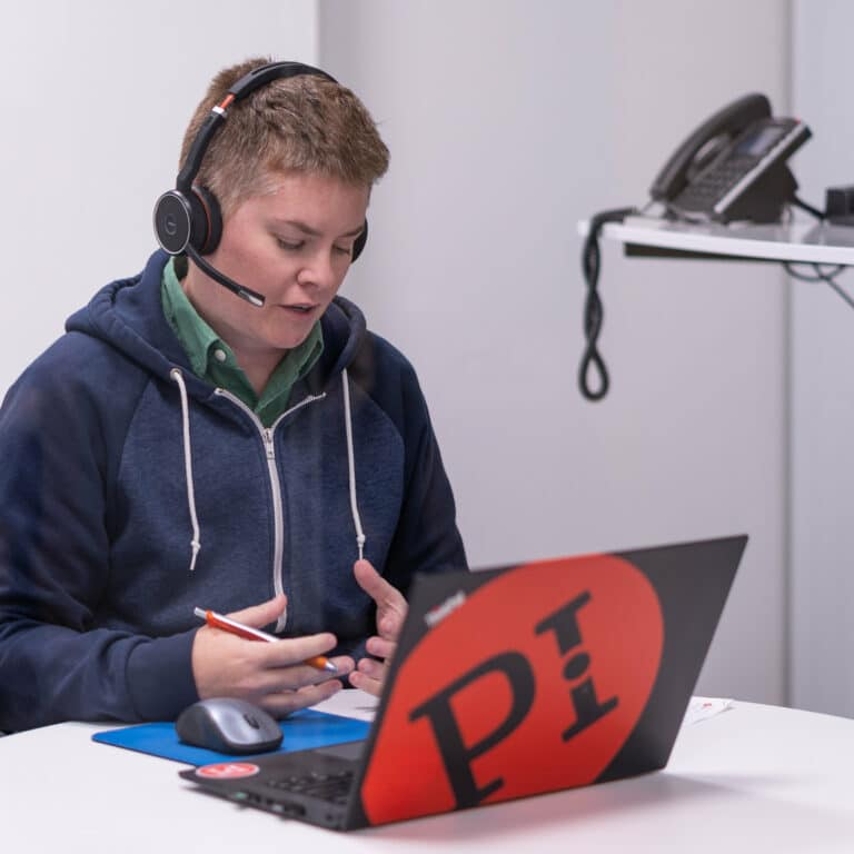 employee conducting a digital interview